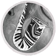 Piano Keys In A Saxophone B/w - Music In Motion Round Beach Towel