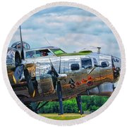 B17 Bomber Side View Round Beach Towel
