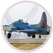 B17 Flying Fortress Cleared For Takeoff At Livermore Round Beach Towel