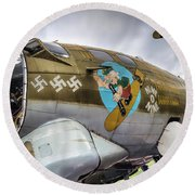 B17 Nine-o-nine Nose Art V2 Round Beach Towel