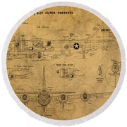 B29 Superfortress Military Plane World War Two Schematic Patent Drawing On Worn Distressed Canvas Round Beach Towel