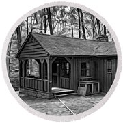 Babcock State Park Cabin - Paint Bw Round Beach Towel