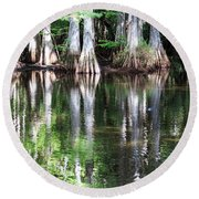 Babcock Wilderness Ranch - Alligator Lake Reflections Round Beach Towel
