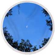 Babcock Wilderness Ranch - Daytime Moon Over Babcock Round Beach Towel