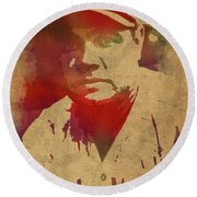 Babe Ruth Baseball Player New York Yankees Vintage Watercolor Portrait On Worn Canvas Round Beach Towel