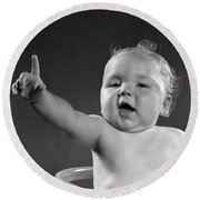 Baby Appearing To Make A Point Round Beach Towel