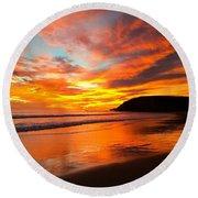 Baby Blue And Tangerine Sky Round Beach Towel