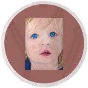Baby Blue Eyes Round Beach Towel