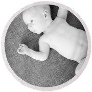 Baby Boy Black And White Round Beach Towel