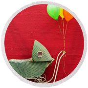 Baby Buggy With Red Wall Round Beach Towel