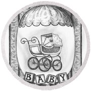 Baby Carriage Round Beach Towel