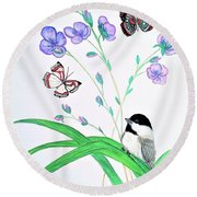 Baby Chickadee And Butterflies Round Beach Towel