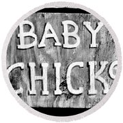 Baby Chicks Bw Round Beach Towel