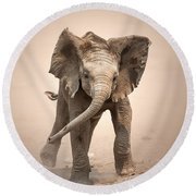 Baby Elephant Mock Charging Round Beach Towel