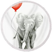 Baby Elephant Watercolor Red Balloon Round Beach Towel