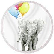 Baby Elephant With Baloons Round Beach Towel by Olga Shvartsur