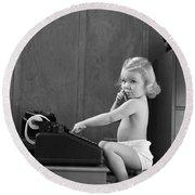 Baby Girl With Adding Machine, C.1940s Round Beach Towel
