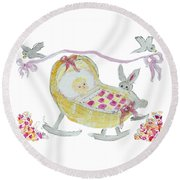 Baby Girl With Bunny And Birds Round Beach Towel