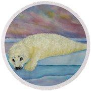 Baby Harp Seal Round Beach Towel