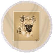 Baby Hyena Round Beach Towel