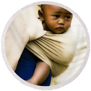 Baby In A Sling Round Beach Towel