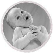 Baby In Sentimental Pose, C.1950s Round Beach Towel