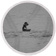 Baby In The Sand Round Beach Towel