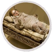 Baby Jesus In Lace Round Beach Towel
