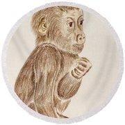 Baby Monkey  Round Beach Towel