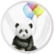 Baby Panda Watercolor With Balloons Round Beach Towel