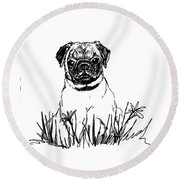 Baby Pug In Flowers Round Beach Towel