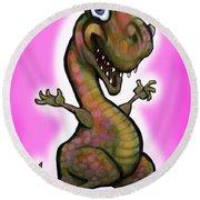 Baby T-rex Pink Round Beach Towel