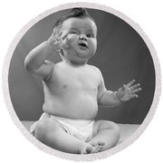 Baby With Odd Expression, 1950s Round Beach Towel