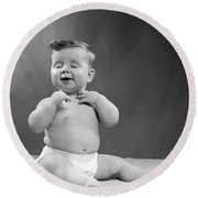 Baby With Vain Expression, 1950s Round Beach Towel