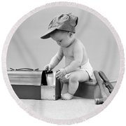 Baby With Work Tools And Lunch Pail Round Beach Towel