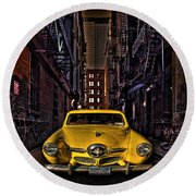 Back Alley Taxi Cab Round Beach Towel