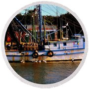 Back From A Long Day At Sea Round Beach Towel