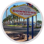 R.i.p. Back Of The Welcome To Downtown Las Vegas Sign Day Round Beach Towel