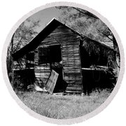 Back On The Farm Black And White Round Beach Towel