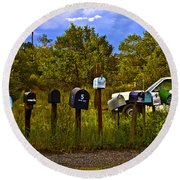 Back Road Mailboxes Round Beach Towel