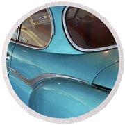 Back Side Of A Blue Vintage Car  Round Beach Towel