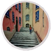 Back Street In France Round Beach Towel