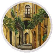 Back Street In Italy Round Beach Towel by Charlotte Blanchard