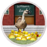 Back To School Little Duckies Round Beach Towel