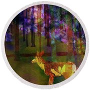 Back To The Forest Round Beach Towel