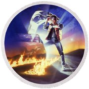 Back To The Future 1985 Round Beach Towel