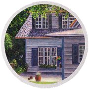 Back Yard With Flower Pots Round Beach Towel