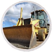 Backhoe Tractor Construction Round Beach Towel