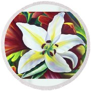 Backlit Lilly Round Beach Towel