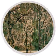 Backlit Moss-covered Trees Caddo Lake Texas Round Beach Towel